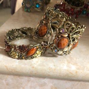Two brown antiqued metal bracelets NWOT